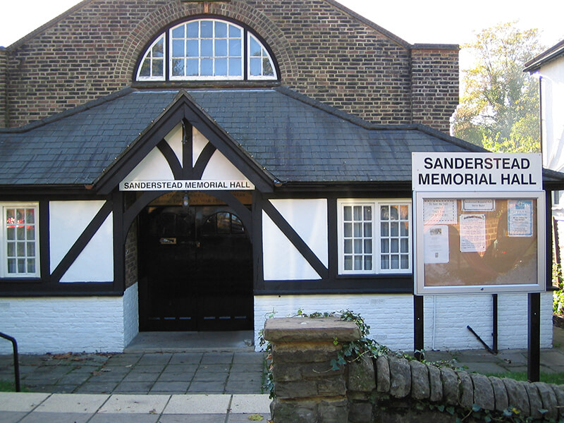 Sanderstead Memorial Hall Purley Oaks Road CR2 0NR